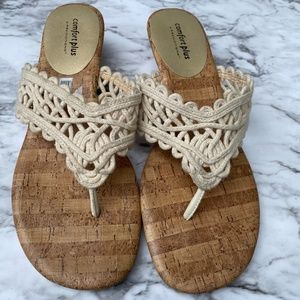 Comfort crochet cork wedge slide sandal shoe 9.5